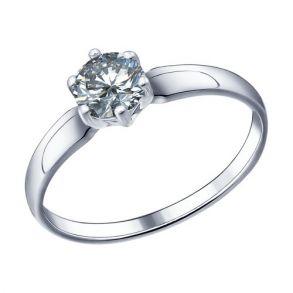 Помолвочное кольцо из серебра с фианитом 89010001 SOKOLOV