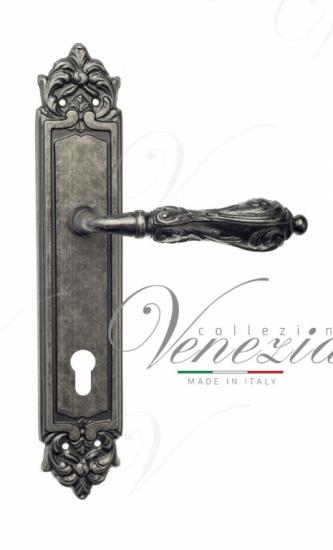Дверная ручка Venezia Monte Cristo CYL на планке PL96 античное серебро