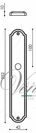 "Дверная ручка Venezia ""PELLESTRINA"" WC-1 на планке PL02 античная бронза"