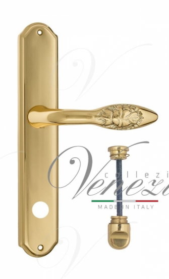 """Дверная ручка Venezia """"CASANOVA"""" WC-1 на планке PL02 полированная латунь"""