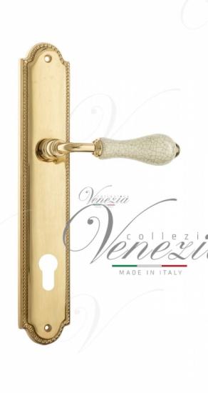 """Дверная ручка Venezia """"COLOSSEO"""" белая керамика паутинка CYL на планке PL98 полированная латунь"""