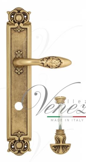 """Дверная ручка Venezia """"CASANOVA"""" WC-4 на планке PL97 французское золото + коричневый"""