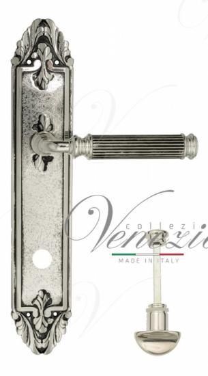 """Дверная ручка Venezia """"MOSCA"""" WC-2 на планке PL90 натуральное серебро + черный"""