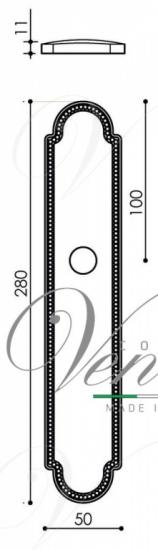 """Дверная ручка Venezia """"MOSCA"""" WC-2 на планке PL98 натуральное серебро + черный"""