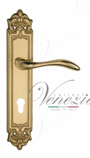 """Дверная ручка Venezia """"ALESSANDRA"""" CYL на планке PL96 полированная латунь"""
