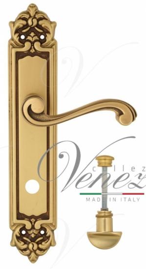 """Дверная ручка Venezia """"VIVALDI"""" WC-2 на планке PL96 французское золото + коричневый"""