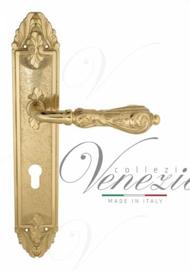 """Дверная ручка Venezia """"MONTE CRISTO"""" CYL на планке PL90 полированная латунь"""