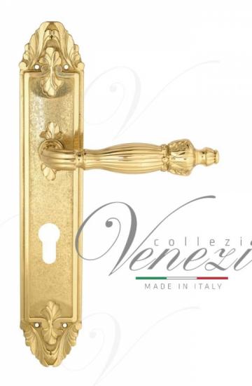 """Дверная ручка Venezia """"OLIMPO"""" CYL на планке PL90 полированная латунь"""