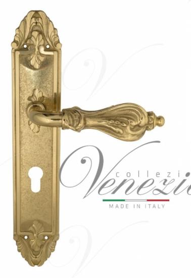 """Дверная ручка Venezia """"FLORENCE"""" CYL на планке PL90 полированная латунь"""