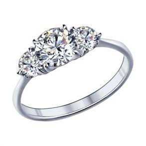 Кольцо из серебра с фианитами 89010004 SOKOLOV