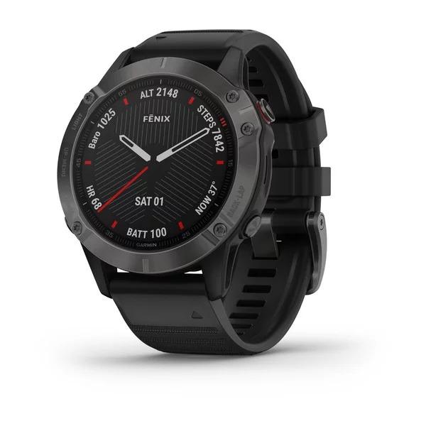 Часы Garmin Fenix 6 Sapphire серый DLC с черным ремешком