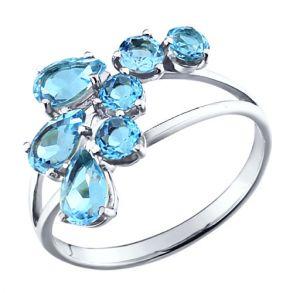Кольцо из серебра с топазами 92010008 SOKOLOV