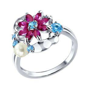 Кольцо из серебра с миксом камней 92010138 SOKOLOV