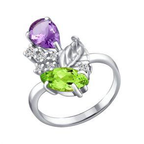 Кольцо из серебра с миксом камней 92010311 SOKOLOV