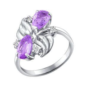 Кольцо из серебра с аметистами и фианитами 92010318 SOKOLOV