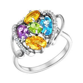 Кольцо из серебра c миксом из камней 92010490 SOKOLOV