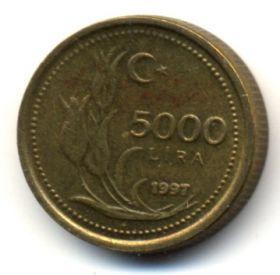 Турция 5000 лир 1997