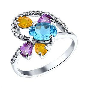 Кольцо из серебра с миксом камней 92010599 SOKOLOV