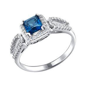 Кольцо из серебра с топазом и фианитами 92010865 SOKOLOV