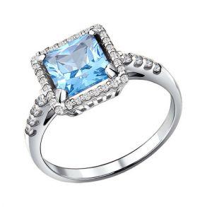 Кольцо из серебра с топазом и фианитами 92010885 SOKOLOV