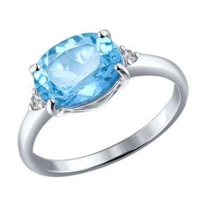 Кольцо из серебра с топазом и фианитами 92010972 SOKOLOV