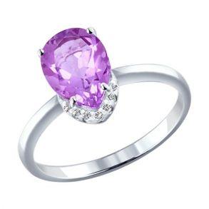 Кольцо из серебра с аметистом и фианитами 92010979 SOKOLOV