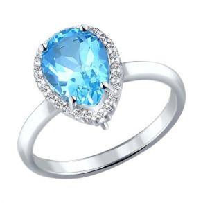 Кольцо из серебра с топазом и фианитами 92010992 SOKOLOV
