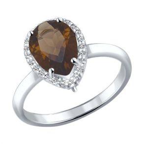 Кольцо из серебра с раухтопазом и фианитами 92010995 SOKOLOV