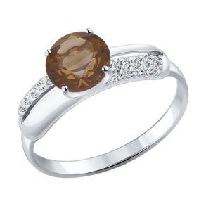 Кольцо из серебра с раухтопазом и фианитами 92011054 SOKOLOV