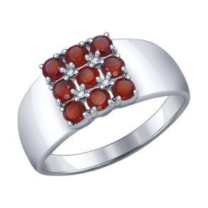 Кольцо из серебра с гранатами 92011114 SOKOLOV