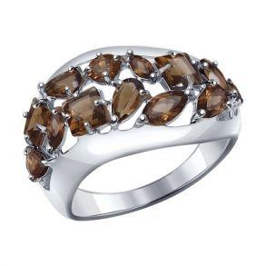 Кольцо из серебра с раухтопазами 92011198 SOKOLOV