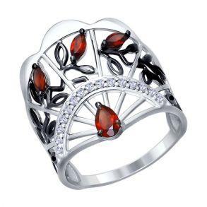 Кольцо из серебра с гранатами и фианитами 92011277 SOKOLOV