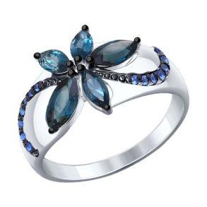 Кольцо из серебра с топазами и синими фианитами 92011303 SOKOLOV