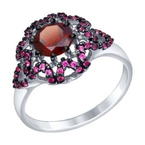 Кольцо из серебра с гранатом и красными фианитами 92011351 SOKOLOV