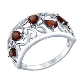 Кольцо из серебра с гранатами 92011376 SOKOLOV