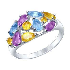 Кольцо из серебра с полудрагоценными вставками 92011379 SOKOLOV