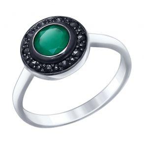 Кольцо из серебра с агатом и марказитами 92011386 SOKOLOV