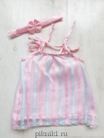 Розовый сарафан с повязкой на голову