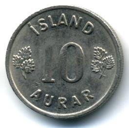 Исландия 10 эйре 1969