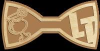 Деревянный галстук-бабочка с бокалом