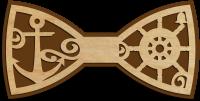 Деревянный галстук-бабочка морская тематика
