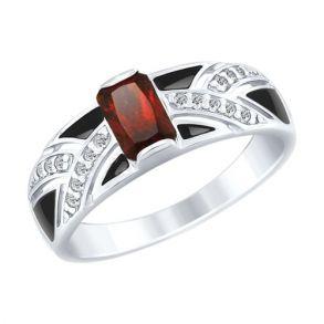 Кольцо из серебра с эмалью и гранатом и фианитами 92011496 SOKOLOV