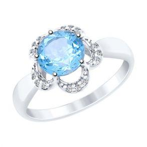 Кольцо из серебра с топазом и фианитами 92011520 SOKOLOV