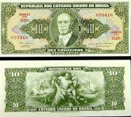 Бразилия - 10 Крузейрос 1962 UNC надпечатка 1 сентаво