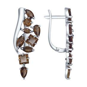Серьги из серебра с раухтопазами 92021344 SOKOLOV