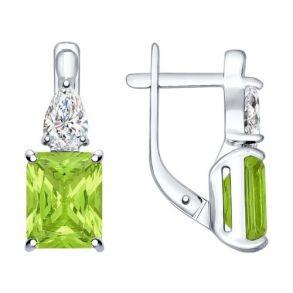 Серьги из серебра с зелеными ситаллами и фианитами 92021414 SOKOLOV
