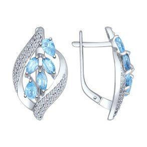 Серьги из серебра с голубыми топазами и фианитами 92021509 SOKOLOV
