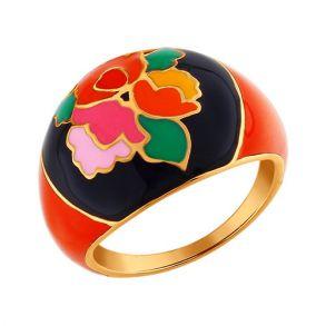 Золочёное кольцо с Хохломой 93010311 SOKOLOV