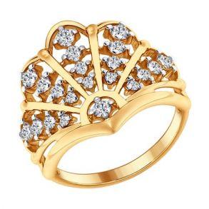 Кольцо из золочёного серебра с фианитами 93010622 SOKOLOV