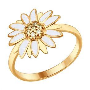 Кольцо из золочёного серебра с эмалью с жёлтыми фианитами 93010625 SOKOLOV
